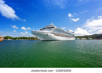 Castries / Saint Lucia  - January 09 2016: The cruise ship Emerald Princess is docking in the Port of Castries, the capital of Saint Lucia, in Eastern Caribbean island