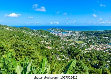 Castries, Saint Lucia - Tropical coast beach on the Caribbean island of St. Lucia. It is a paradise destination with a white sand beach and turquoiuse sea.