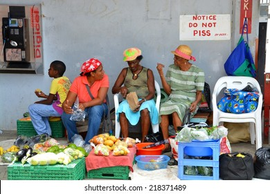 CASTRIES SANTA LUCIA, SEP. 2014: Tropical Market on September, 2014 in Castries, Santa Lucia. Agricultural markets are the leading supplier of food in Santa Lucia.