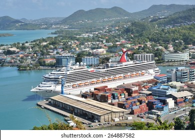 CASTRIES ST LUCIA CARIBBEAN 19  January  2015:  Large Ocean liner  in Capital of St Lucia