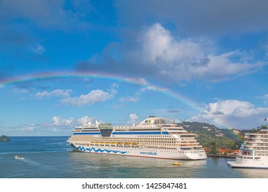 CASTRIES, ST LUCIA - November 21, 2016: AIDA Cruises is an American-British-owned German cruise line based in Rostock, Germany. The company entered the cruise industry in the 1960s