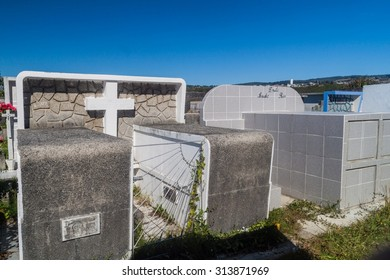 CASTRO, CHILE - MARCH 23, 2015: Tombs on a cemetery in Castro, Chiloe island, Chile