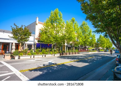 Castro Street in downtown Mountain View, California, USA.  Morning sunshine.