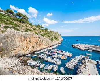Castro townscape in Apulia coast, Italy, a village perched on a cliff, overlooking the Adriatic Sea. Salento landscape combines a wide variety of environments, highlands and sea, woods and caves.