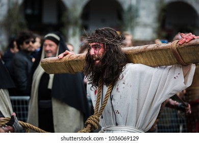 CASTRO URDIALES, SPAIN - APRIL 14, 2017: Unidentified actor, in the representation of the living passion, declared a holiday of national tourist interest in 2012