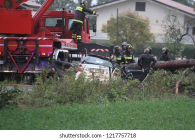 Castrocielo, Lazio / Italy - October 29 2018: Bad weather in the province of Frosinone, a tree falls and kills two people passing on the Via Casilina by car