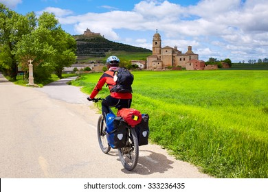 Castrojeriz biker on the way of Saint James at Castilla Spain
