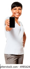 Casual African American Black Businesswoman showing mobile phone on white