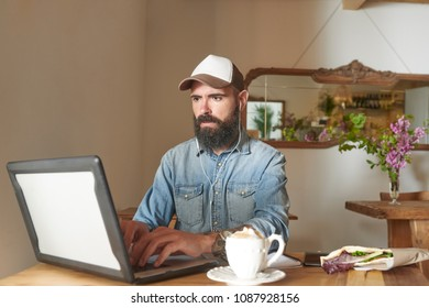 Casual bearded man in cap surfing laptop while sitting at table with coffee and morning meal.