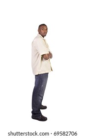 Casual Black Man with his Arms Crossed  Posing - Isolated Background