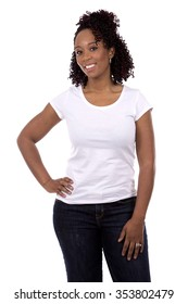 casual black woman posing on white studio background
