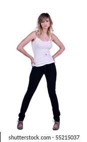 Casual blonde woman in jeans and a white wife beater t-shirt