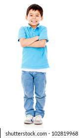 Casual boy with arms crossed - isololated over a white background