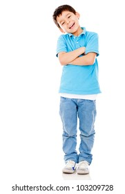 Casual boy smiling standing isolated over a white background
