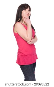 casual brunette woman over white background