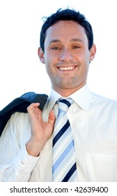 Casual business man looking happy isolated on white