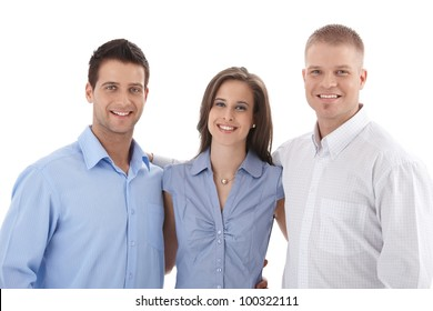 Casual business team portrait, young businesspeople standing hugging, smiling at camera.