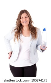 Casual business woman holding a bottle of water