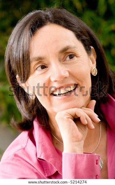 Casual business woman portrait in her home smiling