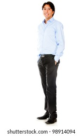 Casual businessman standing - isolated over a white background