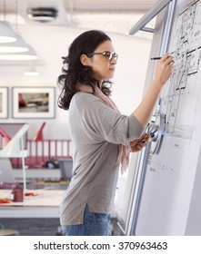 Casual caucasian mid adult woman busy drawing plan at architect business office on drawing board. Pen in hand, wearing glasses, standing. Focused, concentration.
