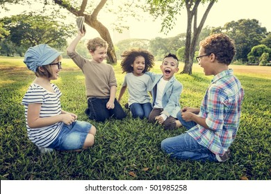 Casual Children Cheerful Cute Friends Kids Concept
