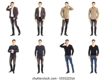 Casual clothing concept - same man in different style clothes
