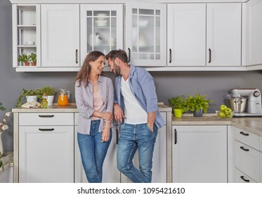 Casual couple in the kitchen
