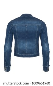 Casual dark blue denim woman's jacket, photographed on ghost mannequin, isolated  with white background. Back view.