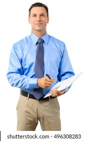 Casual Dress Businessman Holding Clipboard on White