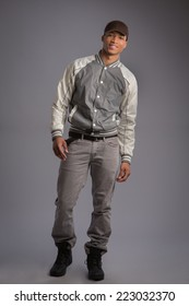 Casual Dressed Young African American Male Model Natural Looking on Grey Background