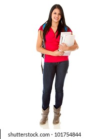 Casual female student carrying notebooks - isolated over a white background