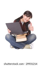 casual female student with laptop. over white background
