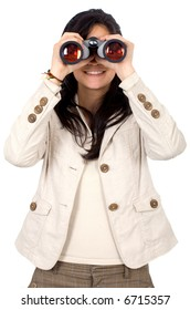 casual girl using binoculars to search - isolated over a white background