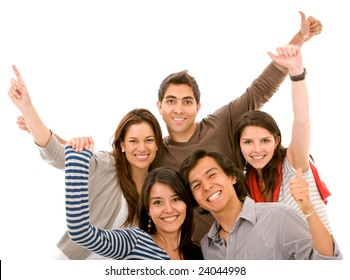 casual group of happy young people smiling isolated over a white background