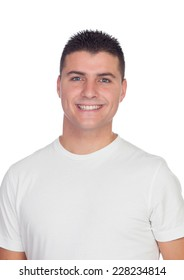 Casual guy smiling with blue eyes isolated on a white background