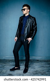 Casual handsome attractive man hipster guy wearing leather jacket