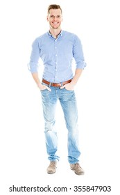 Casual handsome young man full length isolated on white background