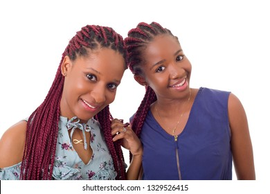 casual happy african girls, isolated on white background