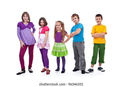 Casual kids in a row smiling and posing - isolated