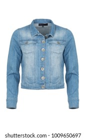 Casual light blue denim woman's jacket, photographed on ghost mannequin, isolated  with white background. Front view.