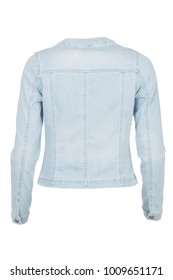 Casual light blue denim woman's jacket, photographed on ghost mannequin, isolated  with white background. Back view.