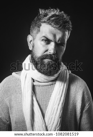 43275d06c0e Handsome bearded man in autumn or winter clothing. Men autumn winter  fashion. Portrait of handsome man in trendy casual clothes. Black white. -  Image