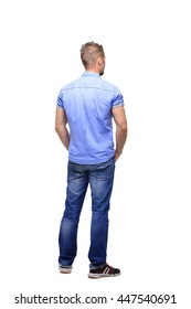 Casual man from the back - looking at something isolated on the white background