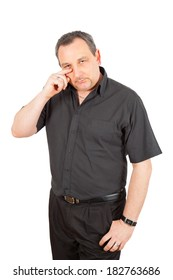 Casual man in black doing different poses