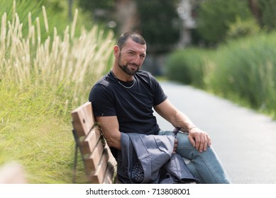 Casual man in a city park