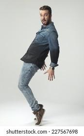 casual man dancing