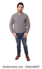 casual man full body in a white background