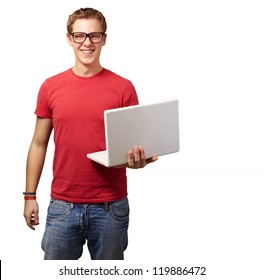 casual man holding laptop isolated on white background