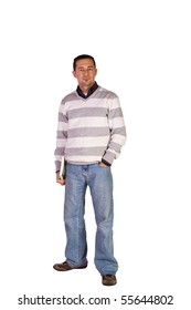 Casual Man in Jeans Posing - Isolated Background